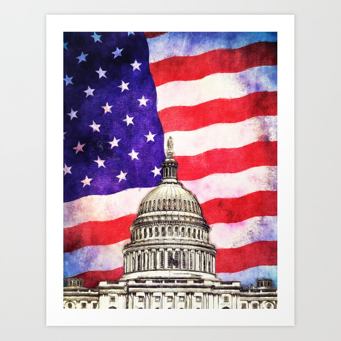 American Flag And Capitol Building Art Print