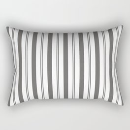 Pantone Pewter Gray & White Wide & Narrow Vertical Lines Stripe Pattern Rectangular Pillow