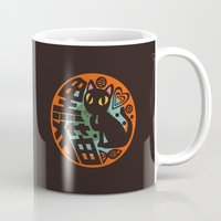 black cat Mugs featuring Black Cat by BATKEI