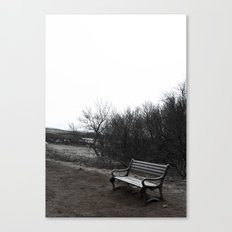 Lonely Bench in Iceland National Geysir Park Canvas Print