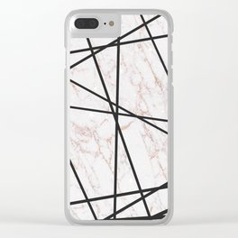 Geometrical black gold faux glitter white marble Clear iPhone Case