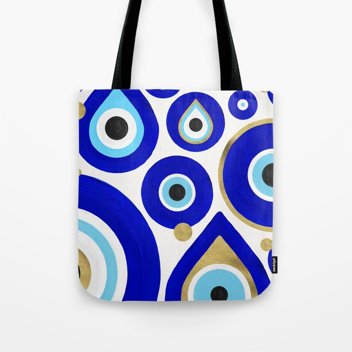 Evil Eye Charms on White Tote Bag