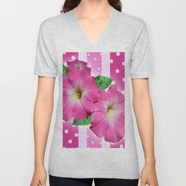 Petunias on Stripes Unisex V-Neck