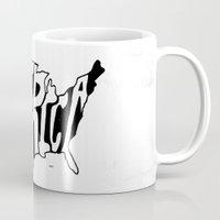 america Mugs featuring AMERICA by Kris Petrat Design
