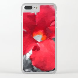Red Daylily Art Clear iPhone Case
