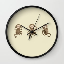 Three Wise Monkeys Wall Clock
