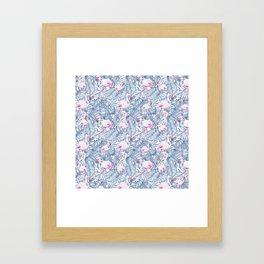 Pink blue watercolor tropical flamingo floral Framed Art Print