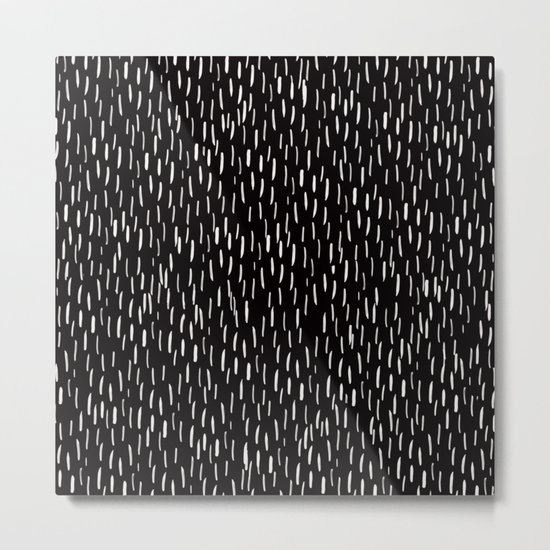Abstract white Rain Lines Pattern on Black-Mix and Match with Simplicity of Life Metal Print