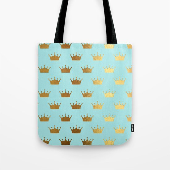 Gold Glitter effect crowns on aqua - Heraldy Pattern for Princesses on #Society6 Tote Bag
