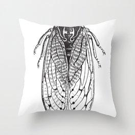 Black and White Cicada Throw Pillow