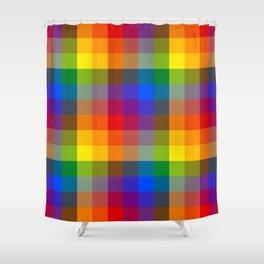 Rainbow Checkers Shower Curtain