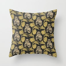 Skulls and Flowers black Throw Pillow