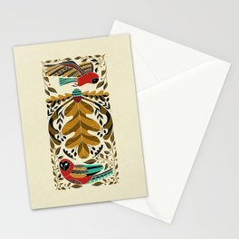Folk Art Owl in Red and Turquoise Stationery Cards