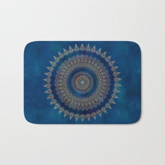 Blue detailed mandala esoteric symbol Bath Mat