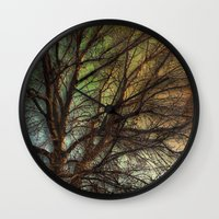 psychadelic Wall Clocks featuring Psychadelic Tree by Jeanne Hollington
