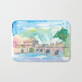Rome Italy Castel Sant'Angelo Evening with Bridge Bath Mat