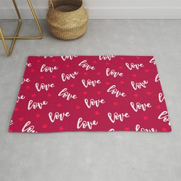 Love, Love, Love Red Hearts Pattern Rug