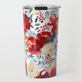 Red teal hand painted boho watercolor roses floral Travel Mug