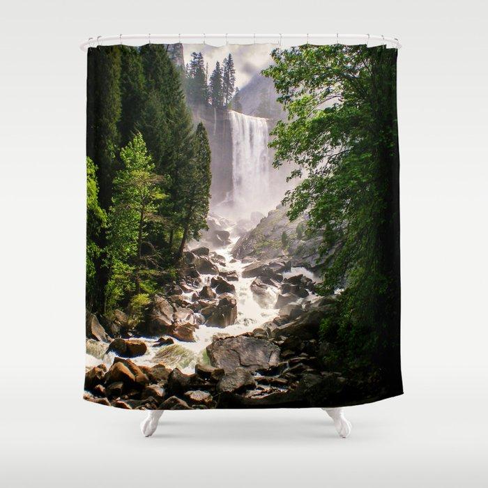 Yosemite Waterfall Shower Curtain by zoishop | Society6