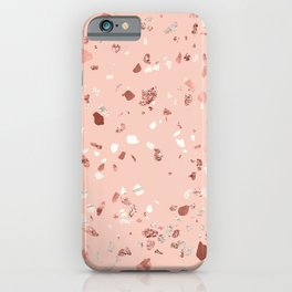 Deep Pink Quartz Gold Terrazzo iPhone Case