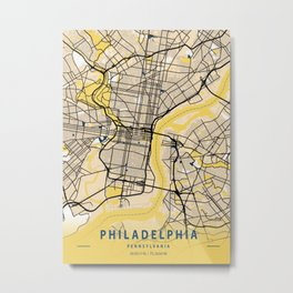 Philadelphia Yellow City Map Metal Print