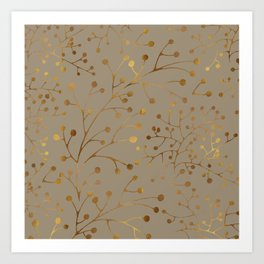 Tan & Gold Brunches Seamless Pattern Art Print