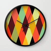 diamonds Wall Clocks featuring multicolor diamond pattern by Gary Andrew Clarke