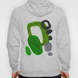 Mid Century Vintage 70's Design Abstract Minimalist Colorful Pop Art Olive Green Dark Green Grey Hoodie