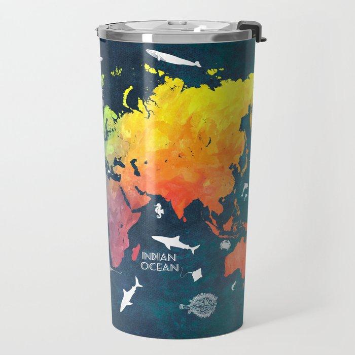 Ocean World Map color #map #worldmap Travel Mug