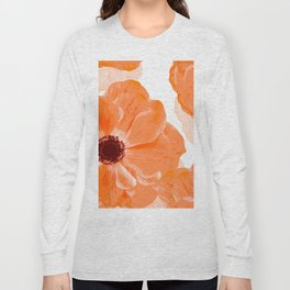 Beautiful Coral Color Flowers White Background #decor #society6 #buyart Long Sleeve T-shirt