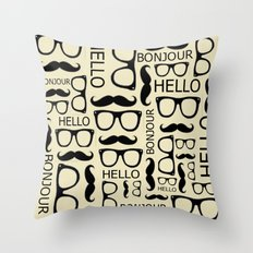 Hello, Bonjour Throw Pillow