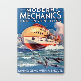 Modern Mechanics and Inventions Science Zeppelin Ocean Liner Metal Print
