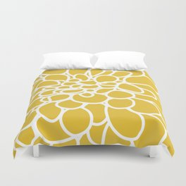 Mustard Yellow Modern Dahlia Flower Duvet Cover