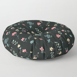 Boho pressed flowers floral watercolor pattern on off black Floor Pillow
