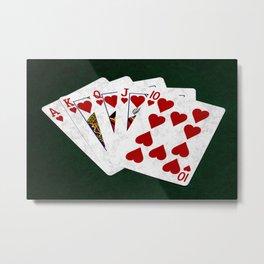 Poker Royal Flush Hearts Metal Print