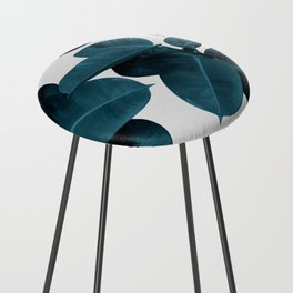 Indigo Blue Plant Leaves Counter Stool