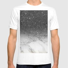 Stylish faux black glitter ombre white marble pattern Mens Fitted Tee MEDIUM White