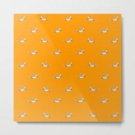 The Diver - Orange Pattern Metal Print
