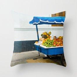 Fruit Cart in Peru-South America Street Photography Throw Pillow