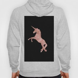 Unicorn Pink Rose Gold Black Hoody