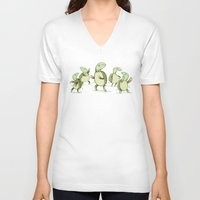 turtles V-neck T-shirts featuring Dancing Turtles by Sophie Corrigan
