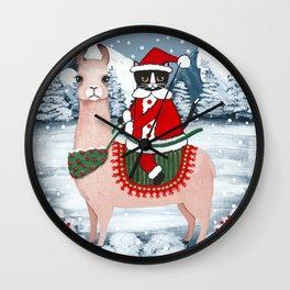 Santa Claws Cat and Llama Wall Clock