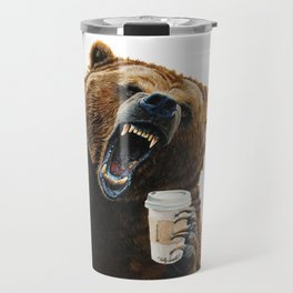 """ Grizzly Mornings "" give that bear some coffee Travel Mug"