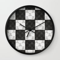 chess Wall Clocks featuring Chess by FYLLAYTA, surface design,Tina Olsson