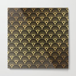 Wonderful gold glitter art deco pattern on black background - Luxury design for your home Metal Print