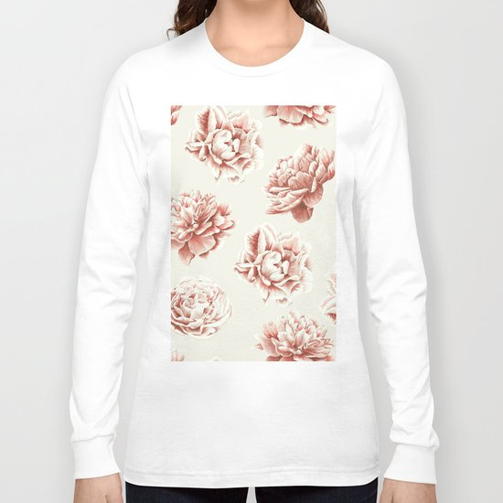 Rose Garden Vintage Rose Pink and Cream Long Sleeve T-shirt