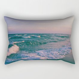 Sunset Crashing Waves Rectangular Pillow