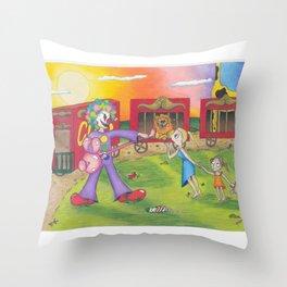 Circus Scare Throw Pillow
