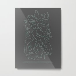 F1 Circuits Infographic- teal and Grey  Metal Print