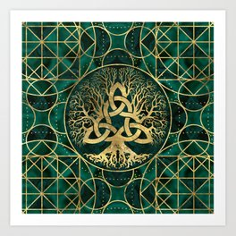 Tree of life with Triquetra Malachite and Gold Art Print